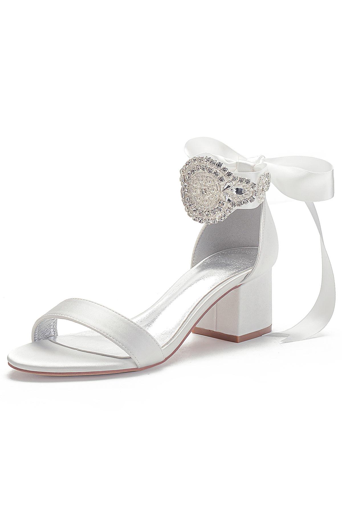 Sandale pour mariage talon épais avec bride brodé de bijoux