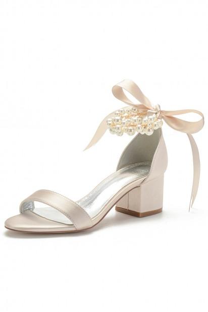 Sandales de mariage champagne talon épais bride perlée noeud