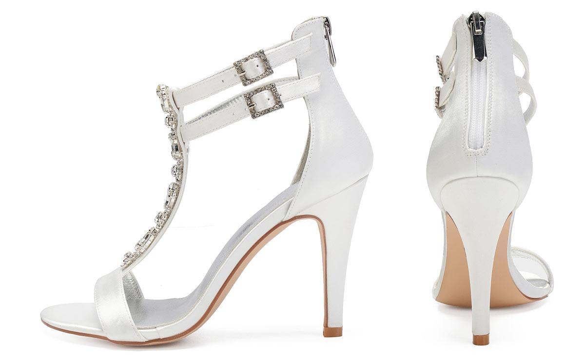 sandale de mariée blanc talon haut strass