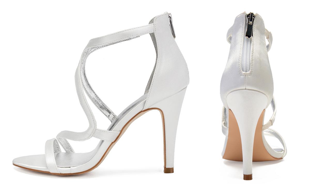 Sandale de mariage blanche à brides asymétrique talon haut