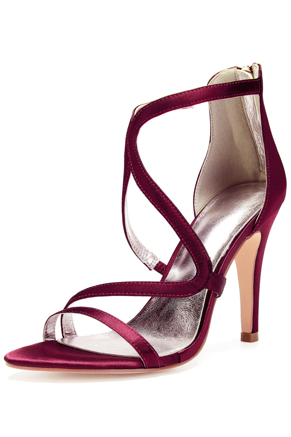 Sandale bordeaux à brides asymetrique pour soirée