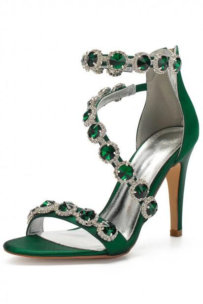 Sublime sandale verte talon haut à lanière asymétrique parée de strass pour soirée