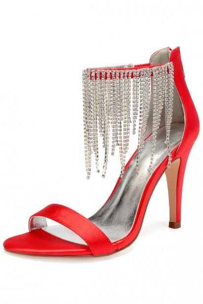 Magnifique sandale rouge talon haut à bride frange strassé