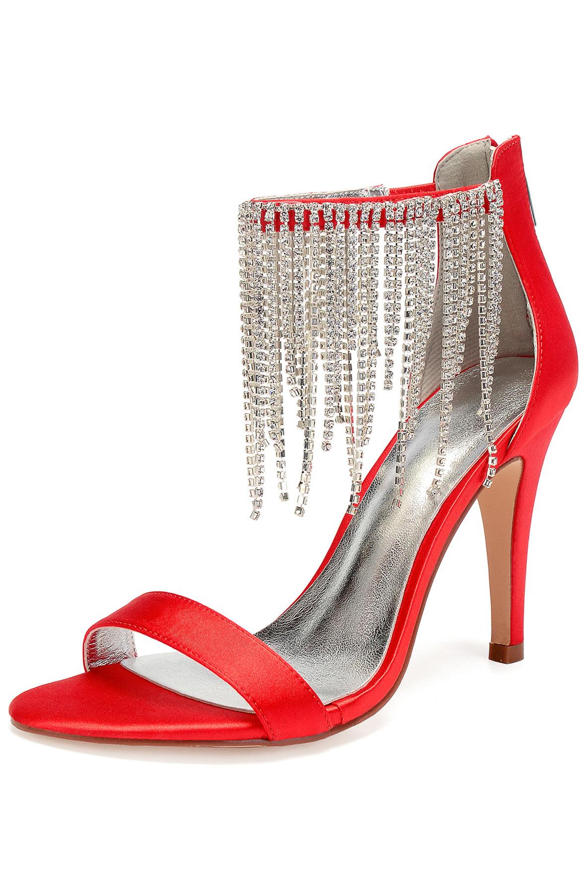 sandales rouge à talon haut à bride frange strassé