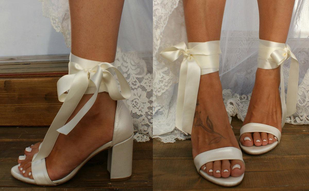 chaussure de mariée simple & chic sous 50€ cheville ruban satiné