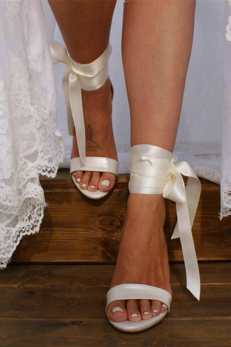sandale de mariée à talon épais à rubans à nouer