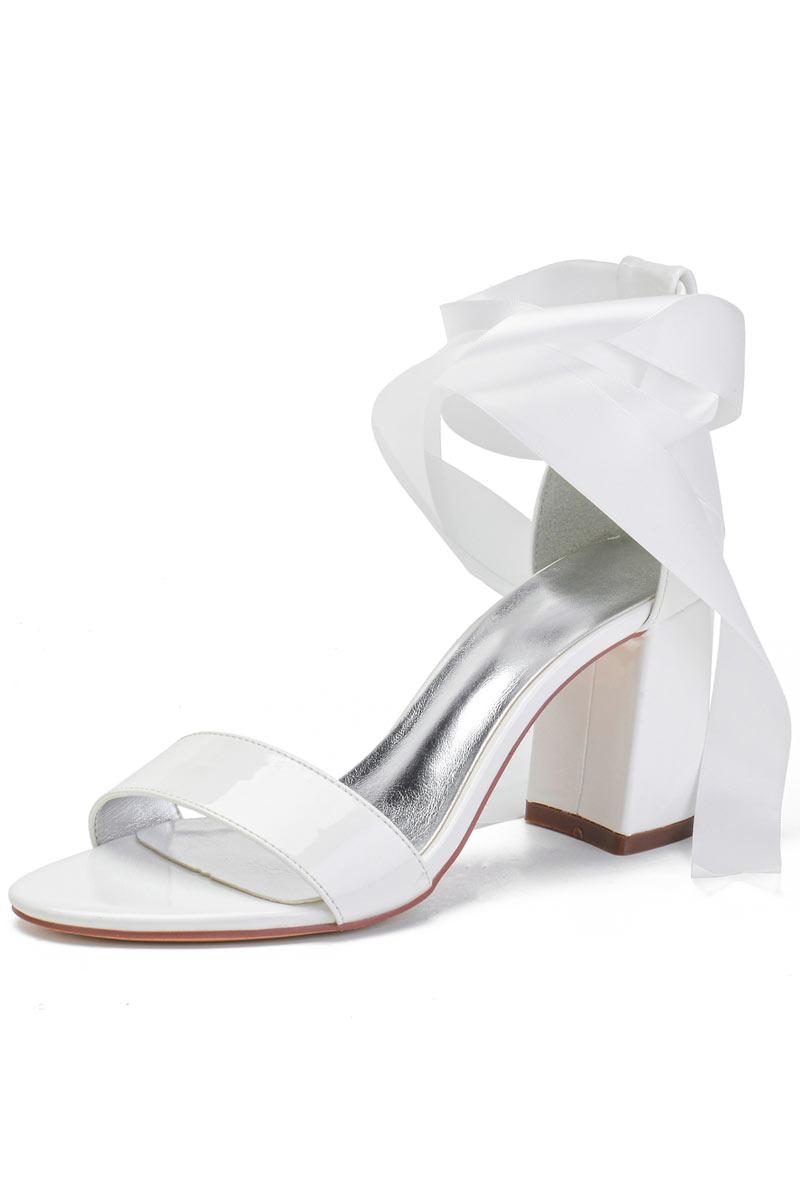 Sandale de mariée à talon haut & épais avec rubans à nouer à la cheville
