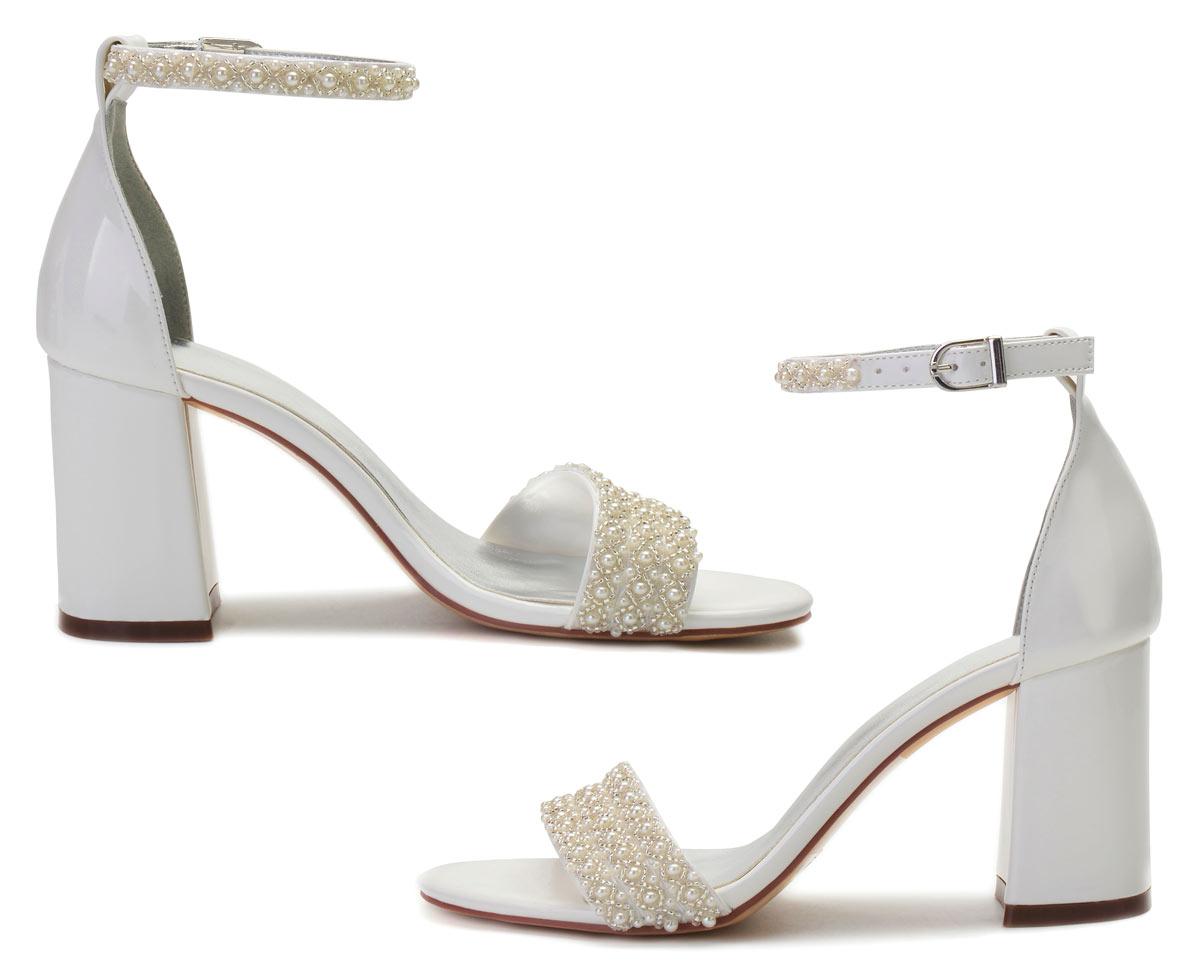 chaussures de mariage perles talon épais 2021 pas cher