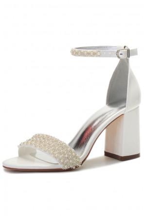 Chaussures de mariage à talon épais bride perlée