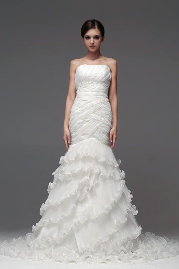 robe de mariée sirène jupe à volants