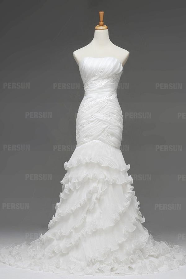 robe mariée sirène bustier ruchée à volants blanche