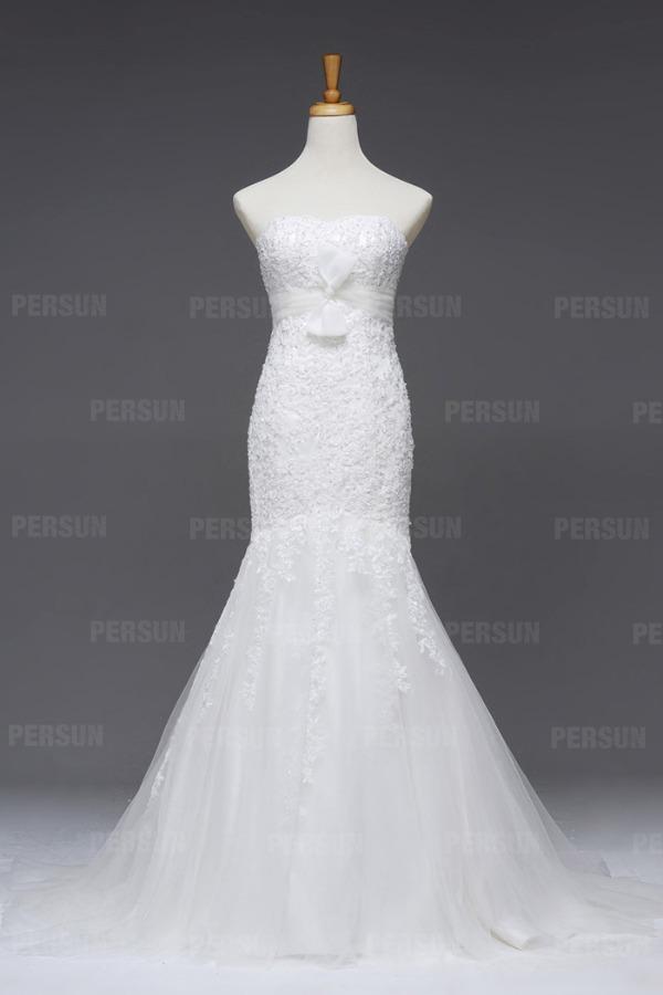 robe de mariée sirène bustier en dentelle & tulle ceinturée à nœud papillon