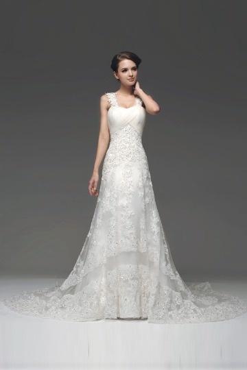 Robe de mariée 2014 blanche ruchée avec bretelles dentelle