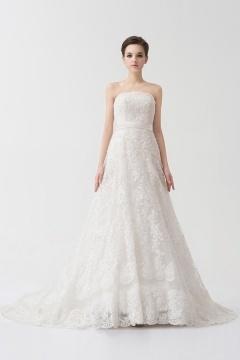 Robe de mariée 2014 dentelle blanche ceinturée à traîne chapel