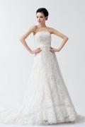 Prachtvolles trägerloses Spitze Brautkleid mit Hof Schleppe