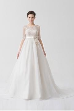 Robe mariée bustier nœud papillon organza blanche boléro détachable