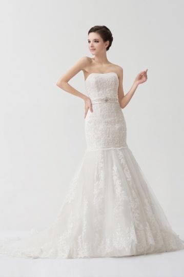 robe de mariée sirène bustier vague appliqué de dentelle