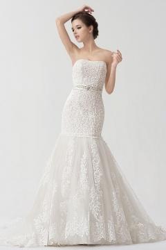 Robe mariée sirène fleurs appliquées dentelle blanche
