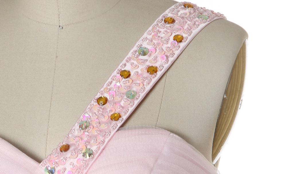 bretelle brodée de sequins roses + strass & perlettes