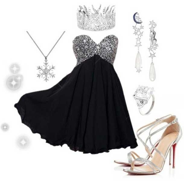 robe de bal noire courte sans bretelle ornée de strass