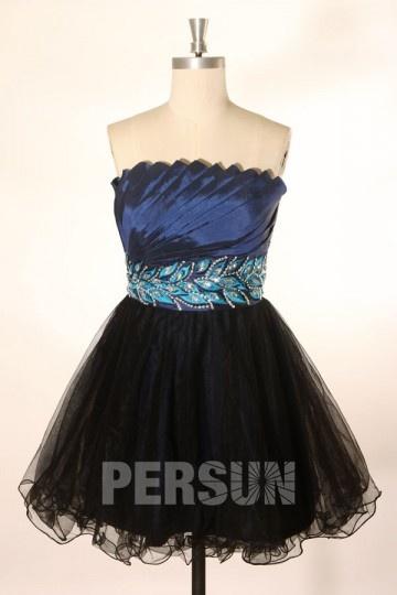 Robe de bal / cocktail bustier drapé bleu nuit & noir