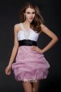 Robe de cocktail Princesse décolletée en V ornée de strass ruchée en organza