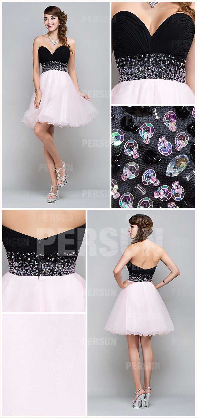 robe de soirée courte bicolore rose et noir