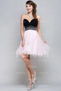 Robe de cocktail courte bloc couleur noir & rose Princesse bustier coeur