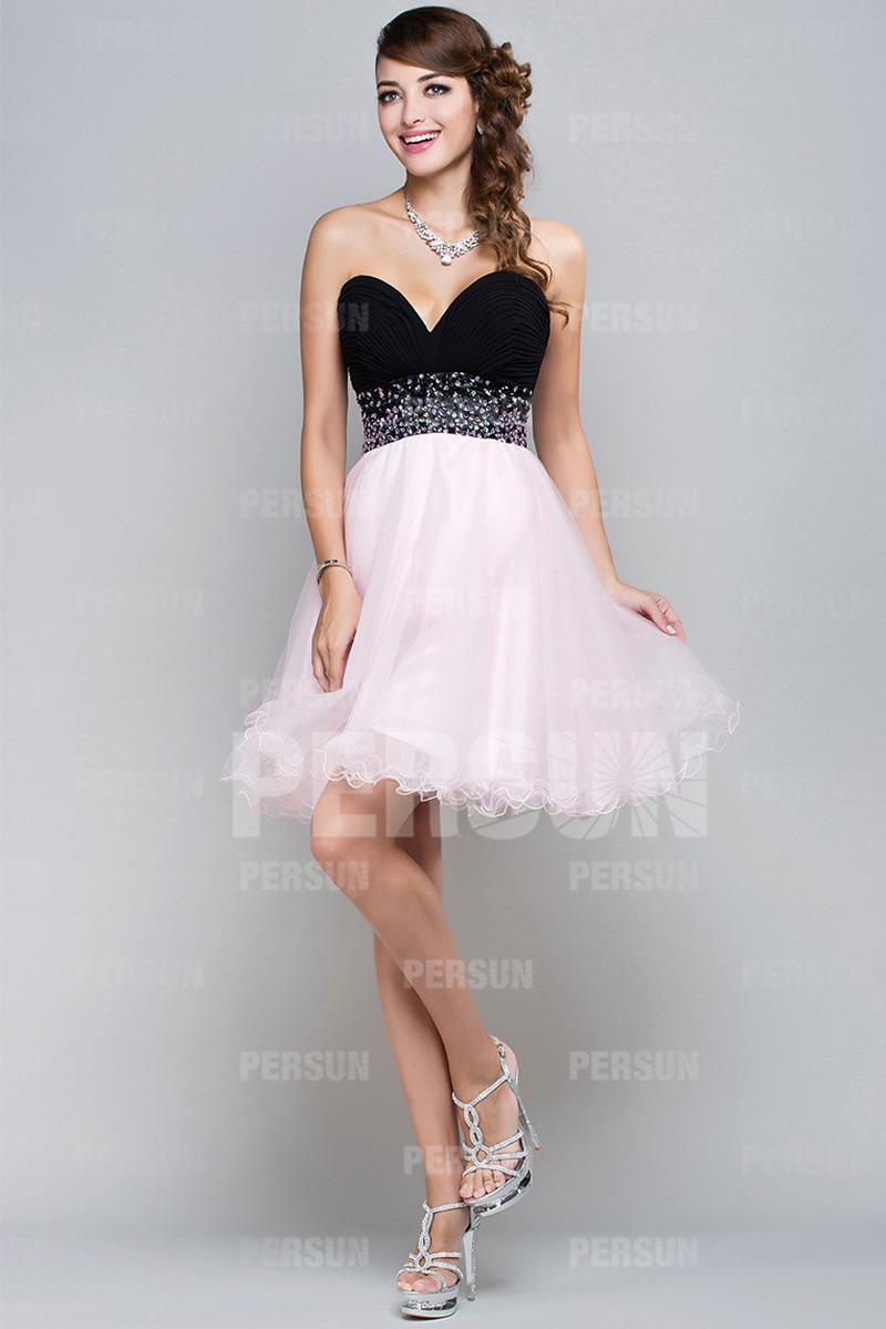 58335457a8c Robe de cocktail courte bloc couleur noir   rose Princesse bustier coeur
