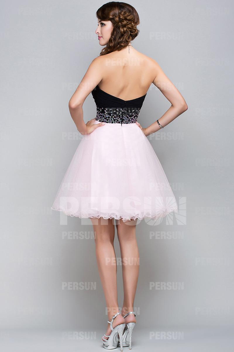 Robe bicolore rose et noire bustier cœur taille embellie de strass pour cocktail mariage