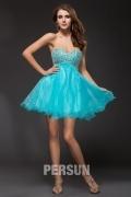 Robe de bal courte turquoise à bustier coeur bijoux sequins