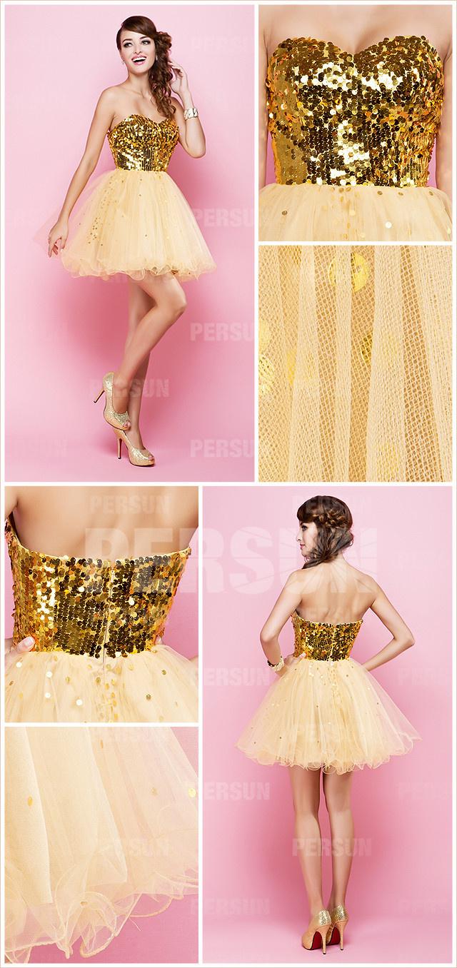 robe patineuse jaune à haut orné de paillettes en tulle