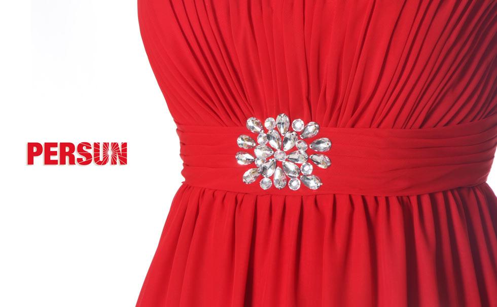 robe Chic rouge plissé orné de strass pour mariage