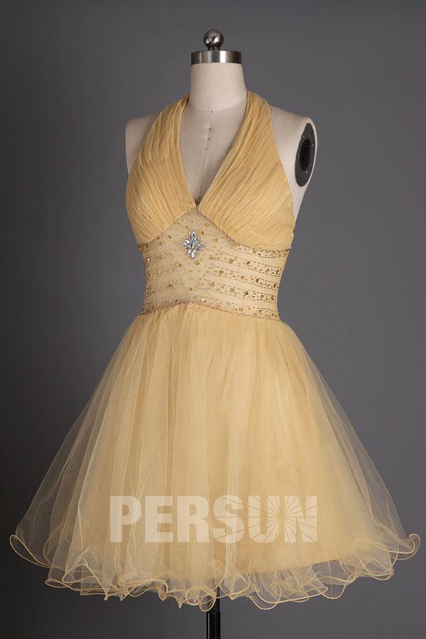 robe de bal courte tulle doré jeu de transparence à la taille