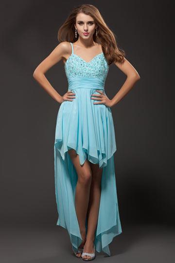 robe bleu courte devant longue derrière avec bretelle fine