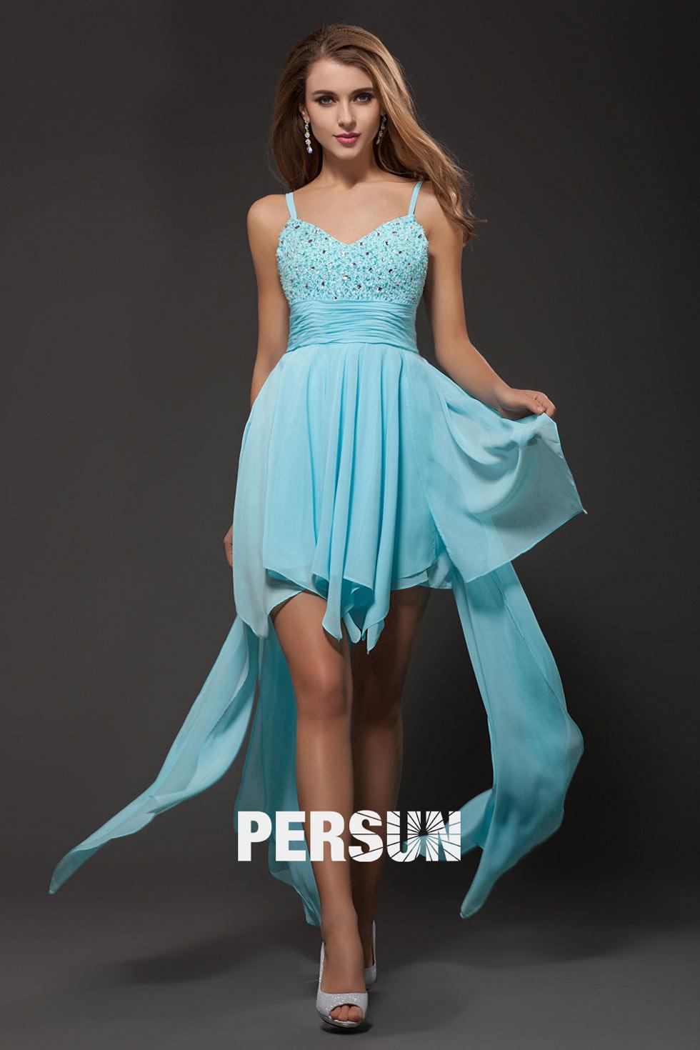 robe turquoise courte devant longue derrière