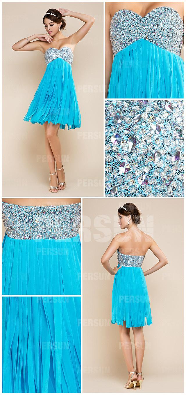 robe de fête bleu cousue de strass