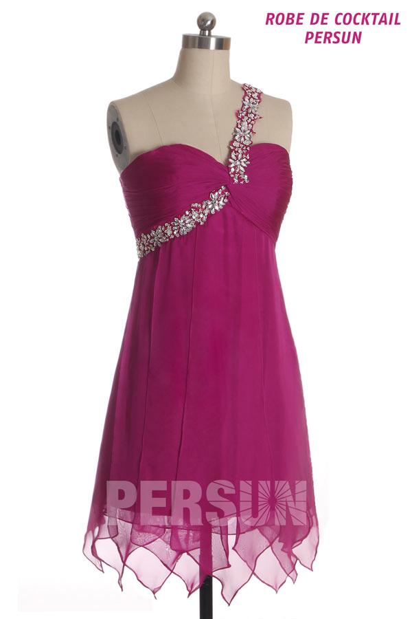 Robe bal rose courte stras épaule asymétrique