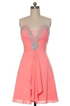 Robe bal rose courte décorée de bijoux sans bretelle