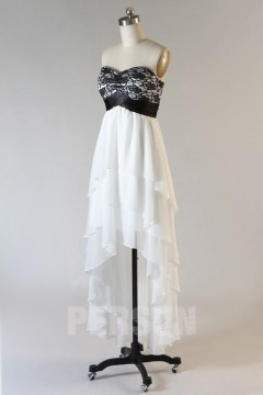 Robe de bal bustier dentelle courte devant longue derrière en mousseline soyeuse