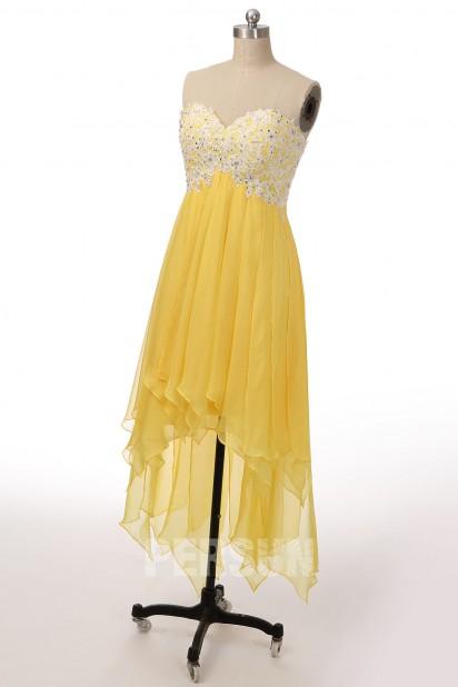 Robe de soirée Tencel jaune bustier appliqué blanc