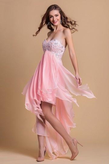 Robe de bal rose court devant long derrière jupe fantaisie
