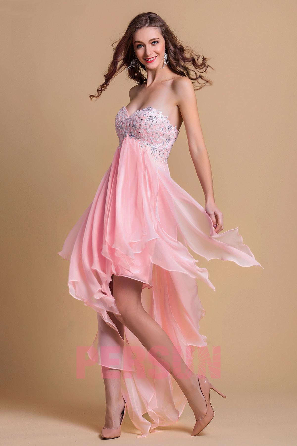 robe bascule cocktail rose courte devant longue derrière jupe fantaisie
