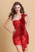 Sweet Flower One Shoulder Satin Column Orange Semi Formal Cocktail Dress