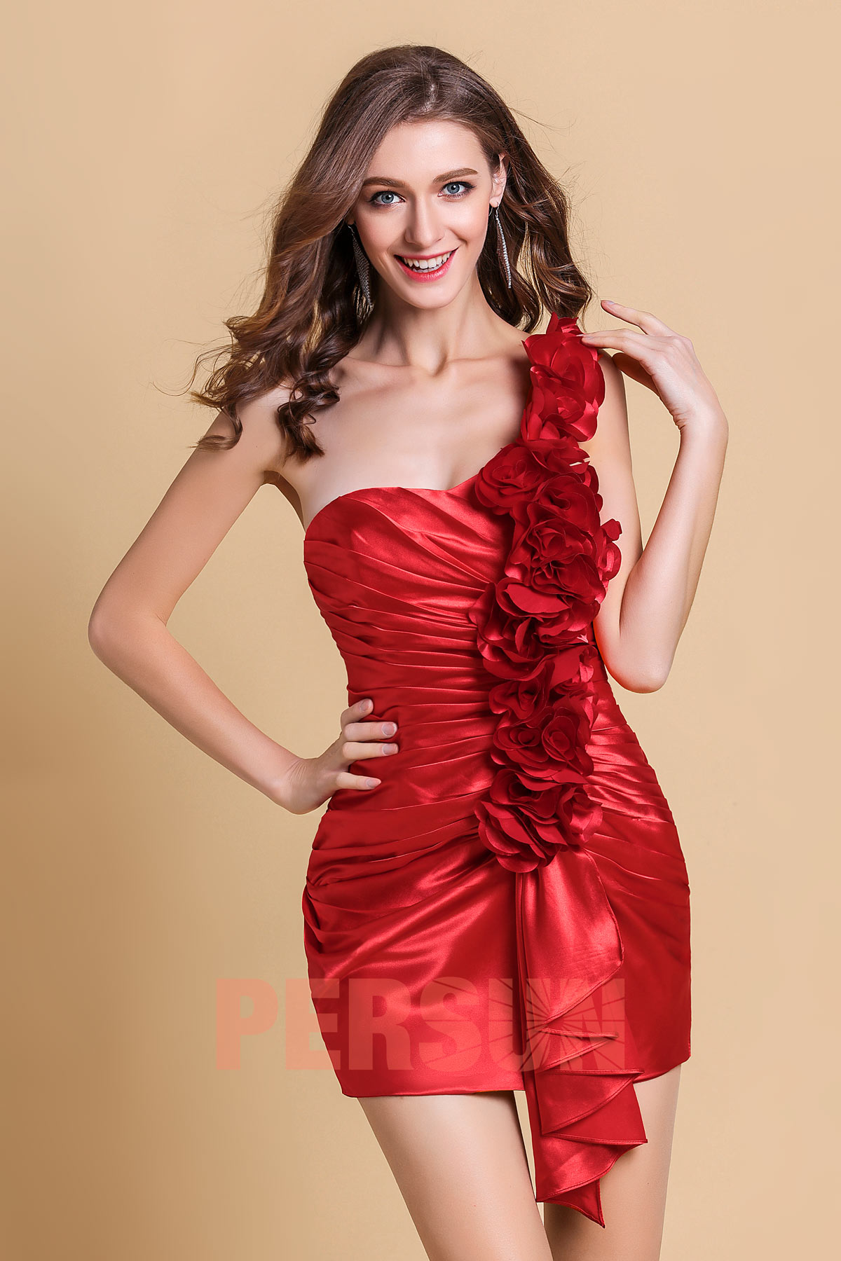 One-shoulder Mini cocktail dress with flowers details in Silk-like satin