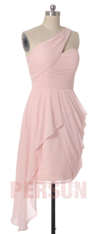 robe rose pastel asymétrique