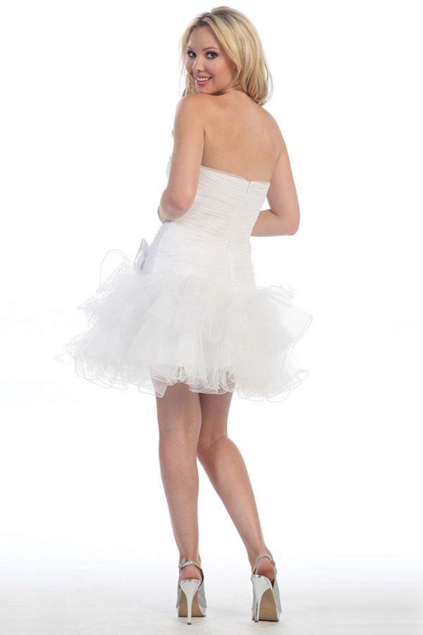 Mini Robe bustier danse fuchsia courte longueur cuisse à volants