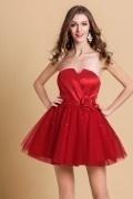 Robe de bal courte rouge bustier djellaba en tulle