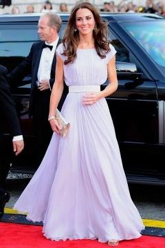 Robe de célébrité Princesse Kate col bateau plissé en mousseline