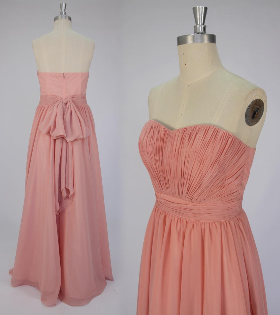 allure robe rose pastel longue mousseline à bustier cœur pour Noël